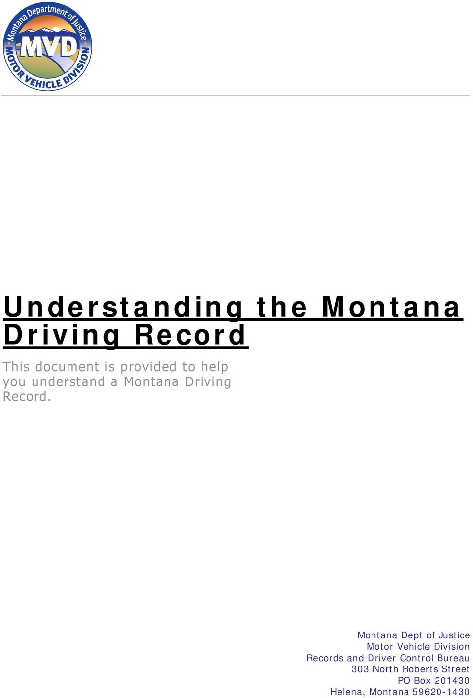 Understanding the montana driving record pdf for Department of motor vehicles records