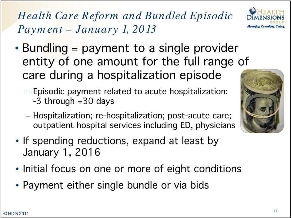 Hospitalization; re-hospitalization; post-acute care; outpatient hospital services including ED, physicians If spending