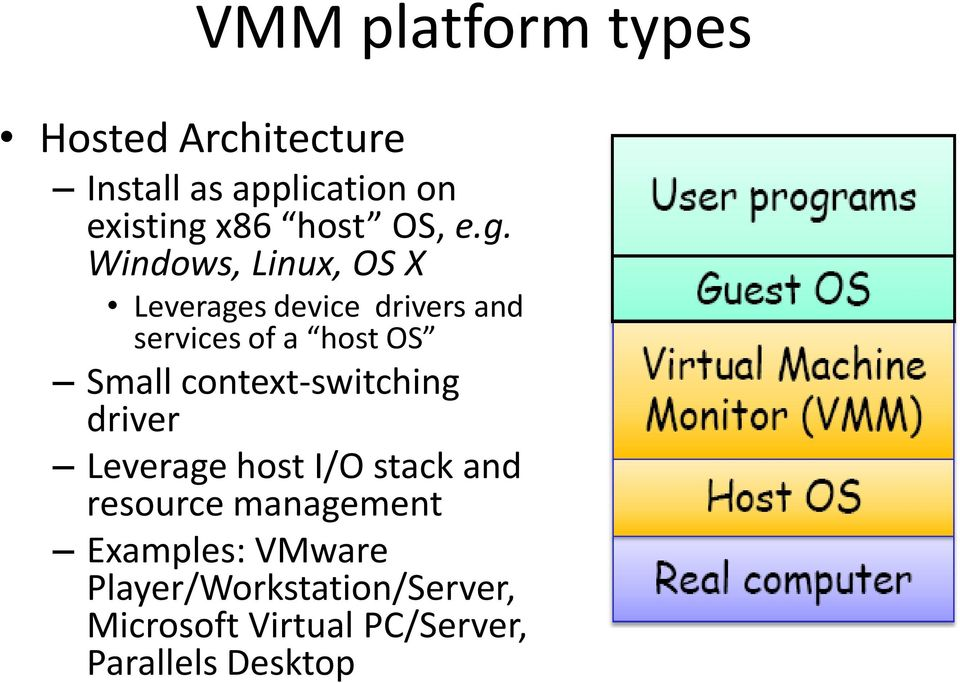Windows, Linux, OS X Leverages device drivers and services of a host OS Small