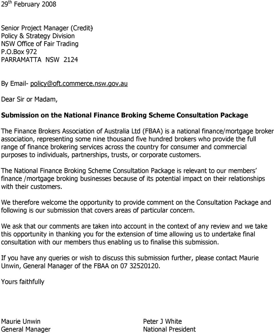 Submission on the National Finance Broking Scheme Consultation