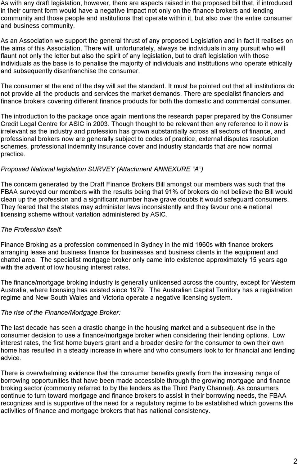 Submission on the National Finance Broking Scheme ...