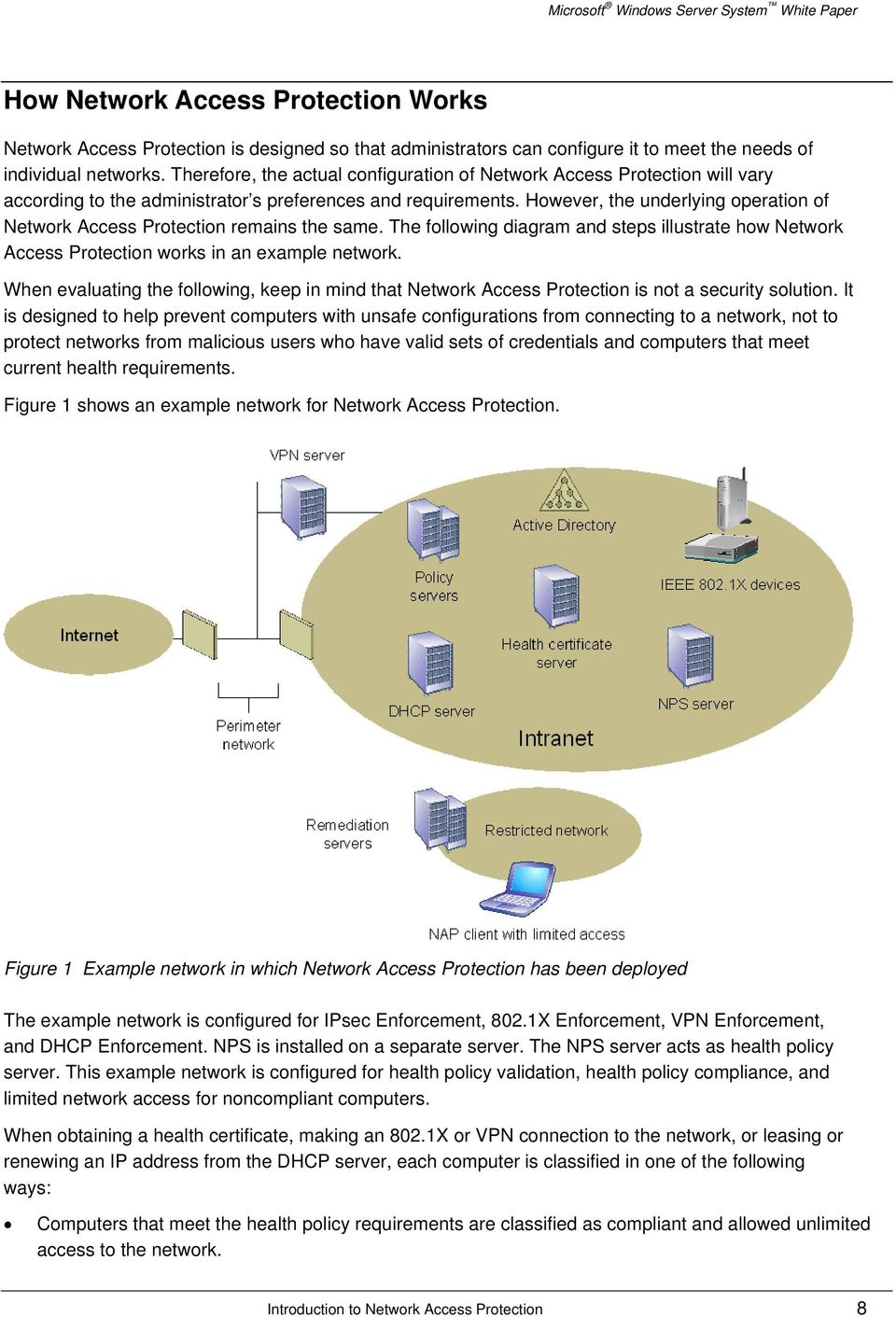 However, the underlying operation of Network Access Protection remains the same. The following diagram and steps illustrate how Network Access Protection works in an example network.