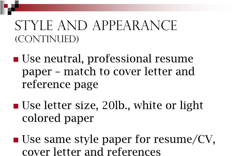 reference page Use letter size, 20lb.