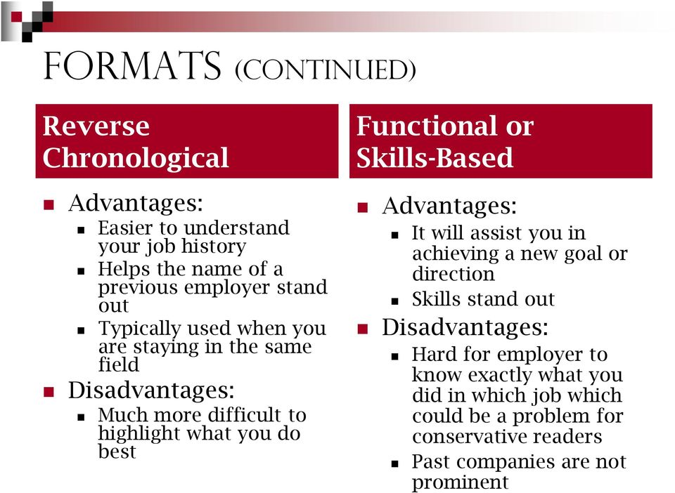 Functional or Skills-Based Advantages: It will assist you in achieving a new goal or direction Skills stand out Disadvantages: Hard