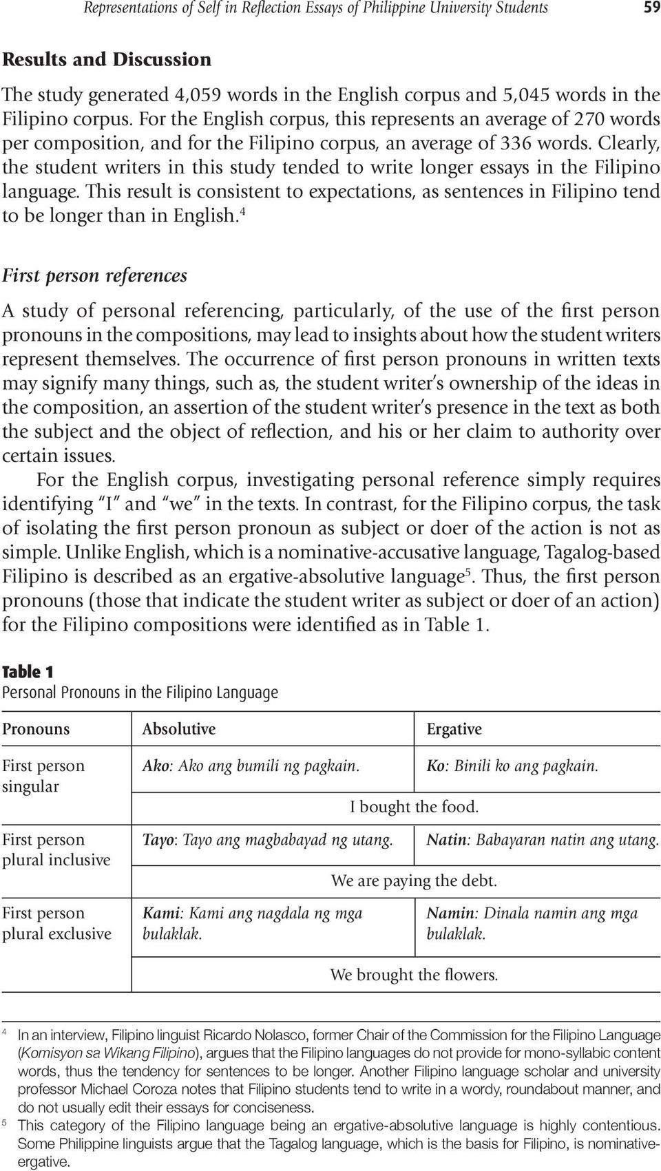 Clearly, the student writers in this study tended to write longer essays in the Filipino language.