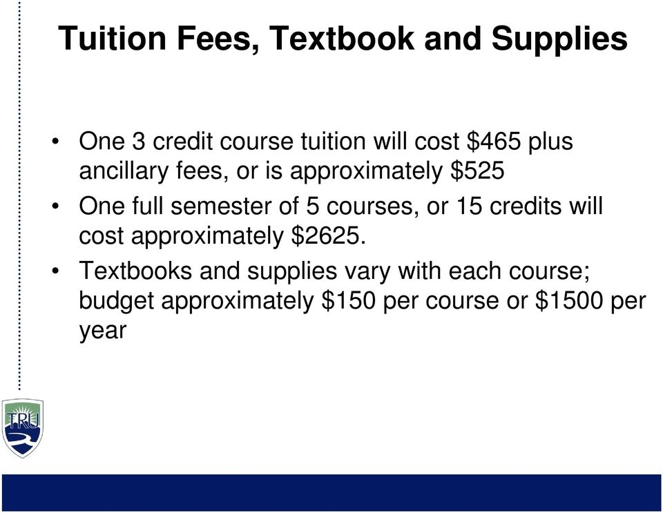 courses, or 15 credits will cost approximately $2625.