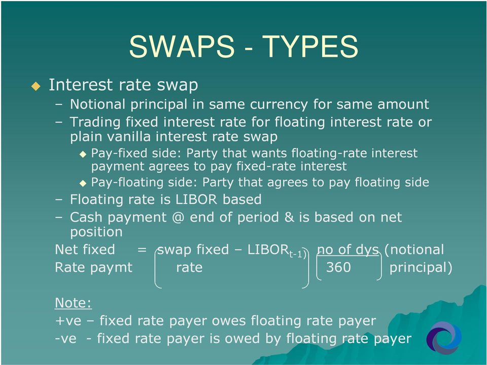 that agrees to pay floating side Floating rate is LIBOR based Cash payment @ end of period & is based on net position Net fixed = swap fixed LIBOR t-1)