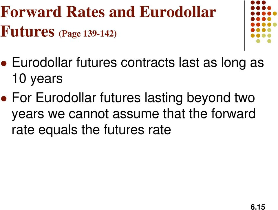 For Eurodollar futures lastng beyond two years we