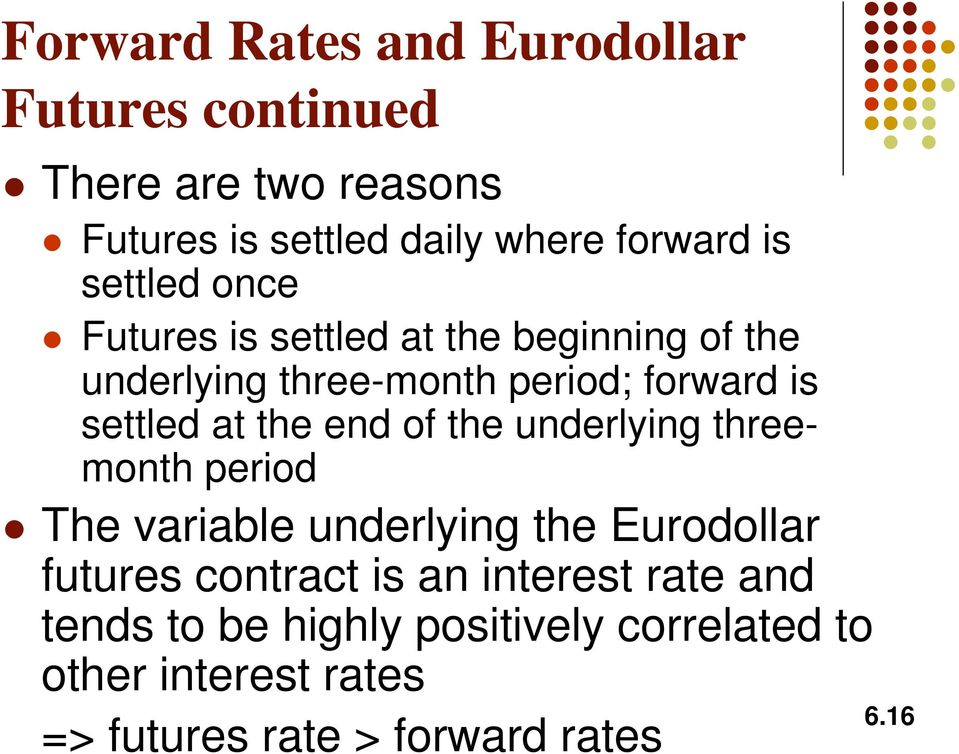 end of the underlyng threemonth perod The varable underlyng the Eurodollar futures contract s an nterest