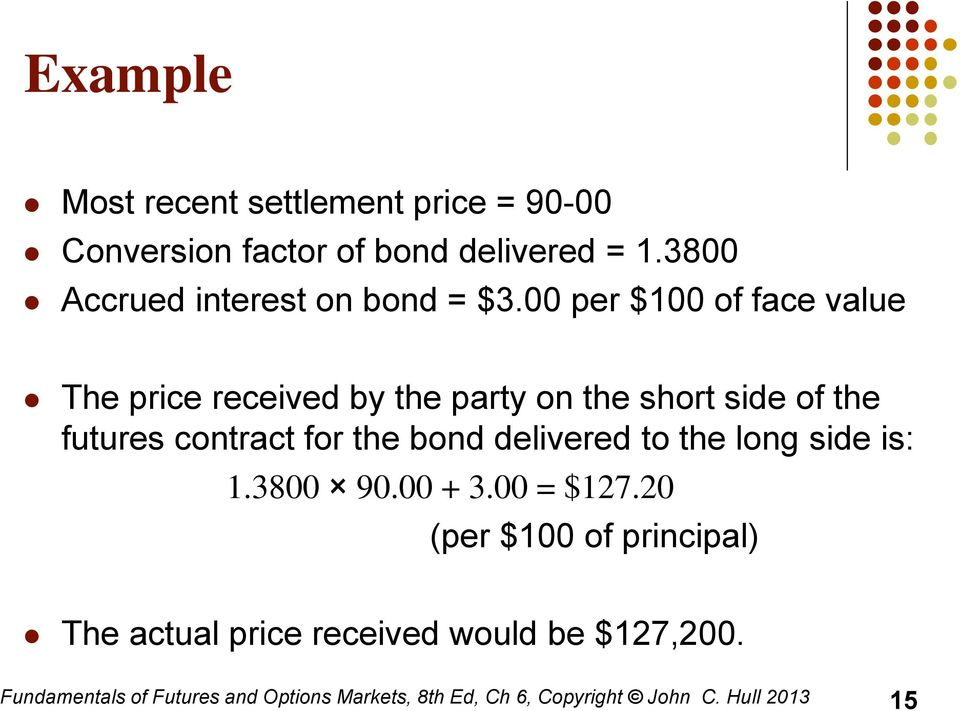 00 per $100 of face value The price received by the party on the short side of the futures