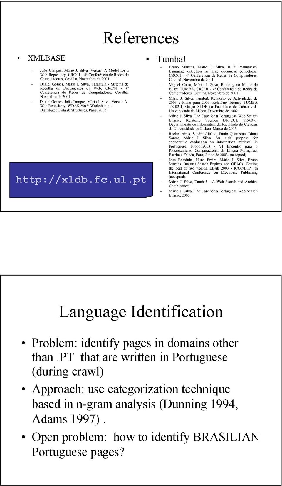 Silva, Versus: A Web Repository, WDAS-2002: Workshop on Distributed Data & Structures, Paris, 2002. References http://xldb.fc.ul.pt Tumba! Bruno Martins, Mário J. Silva, Is it Portuguese?