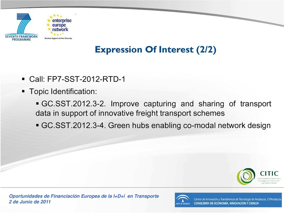 Improve capturing and sharing of transport data in support of