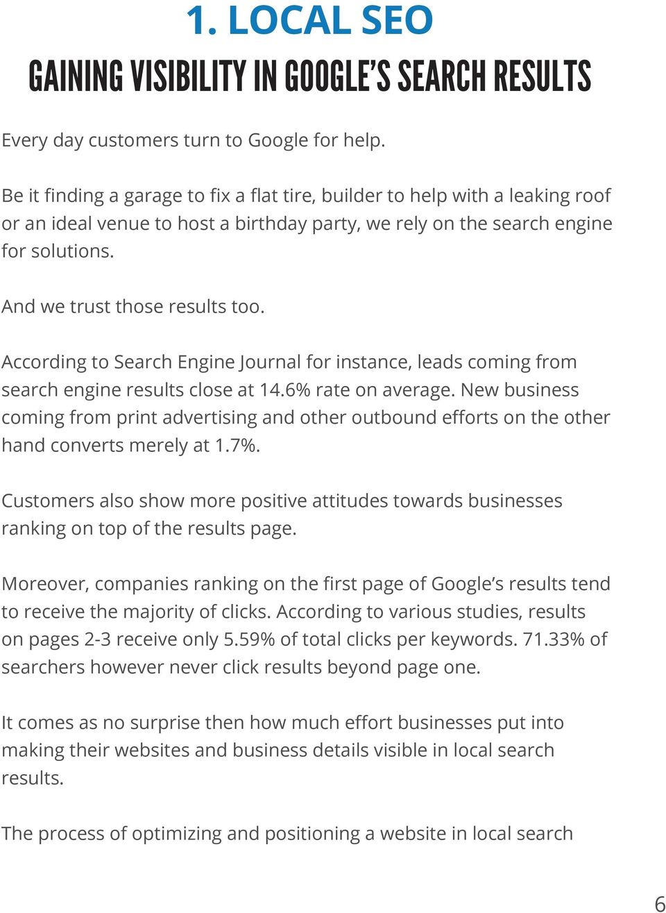 According to Search Engine Journal for instance, leads coming from search engine results close at 14.6% rate on average.