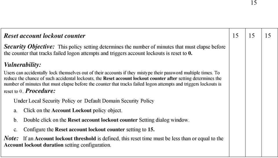 To reduce the chance of such accidental lockouts, the Reset account lockout counter after setting determines the number of minutes that must elapse before the counter that tracks failed logon