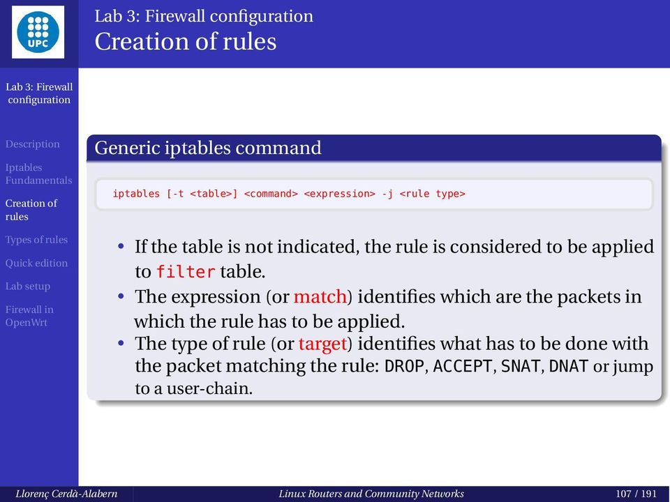 The expression (or match) identifies which are the packets in which the rule has to be applied.