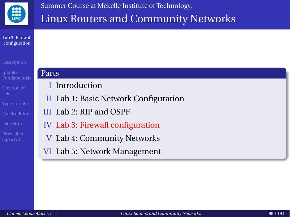 Network Configuration III Lab 2: RIP and OSPF IV V Lab 4: Community