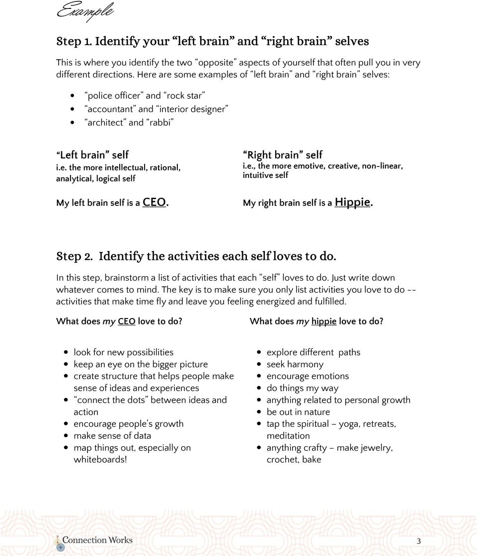 Right brain self i.e., the more emotive, creative, non-linear, intuitive self My right brain self is a Hippie. Step 2. Identify the activities each self loves to do.