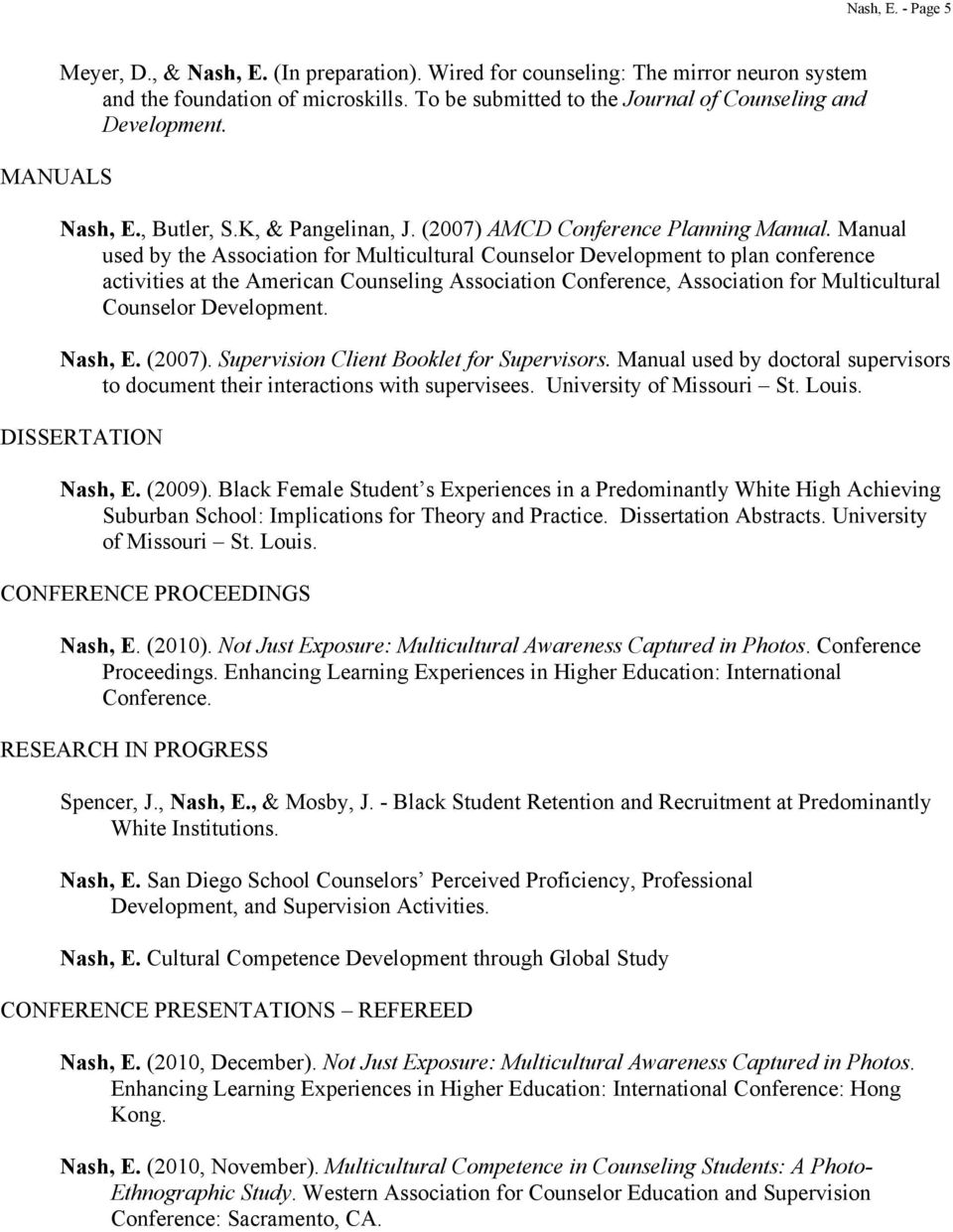 Manual used by the Association for Multicultural Counselor Development to plan conference activities at the American Counseling Association Conference, Association for Multicultural Counselor