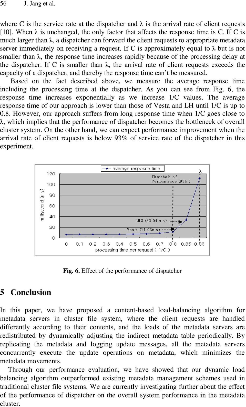 If C is approximately equal to λ but is not smaller than λ, the response time increases rapidly because of the processing delay at the dispatcher.
