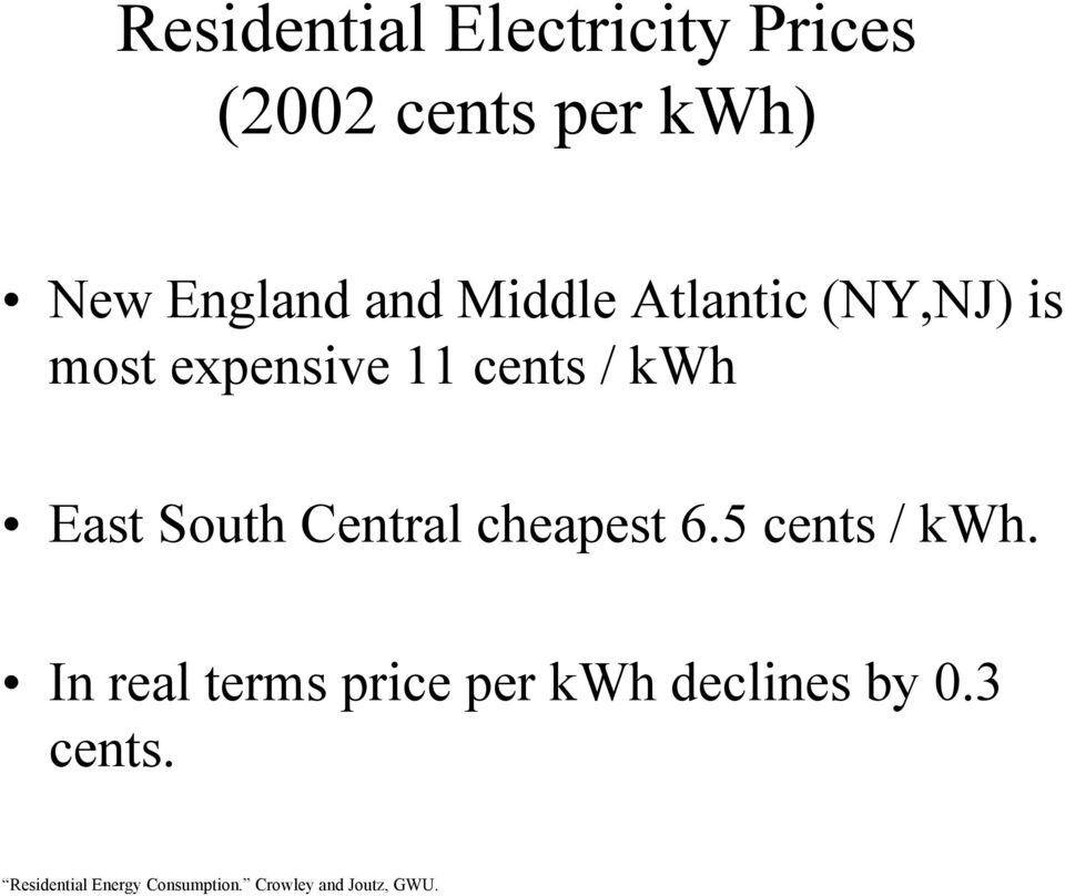 expensive 11 cents / kwh East South Central cheapest 6.