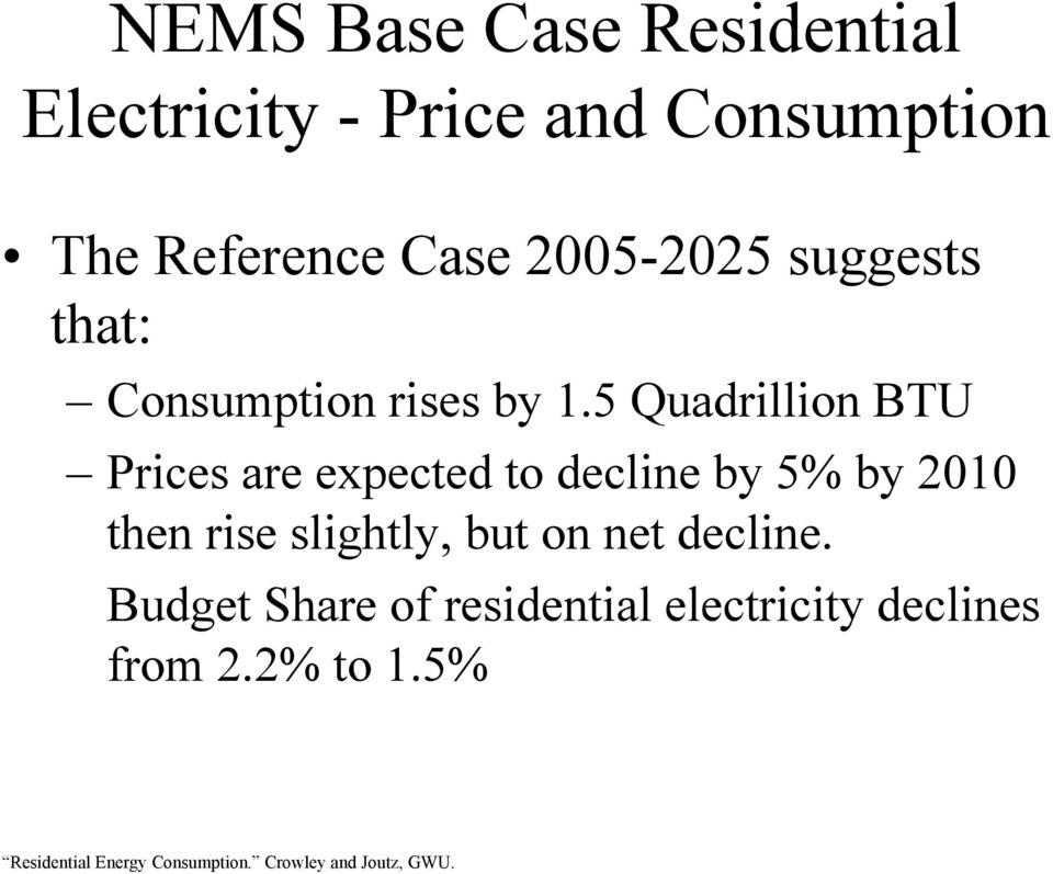 5 Quadrillion BTU Prices are expected to decline by 5% by 2010 then rise