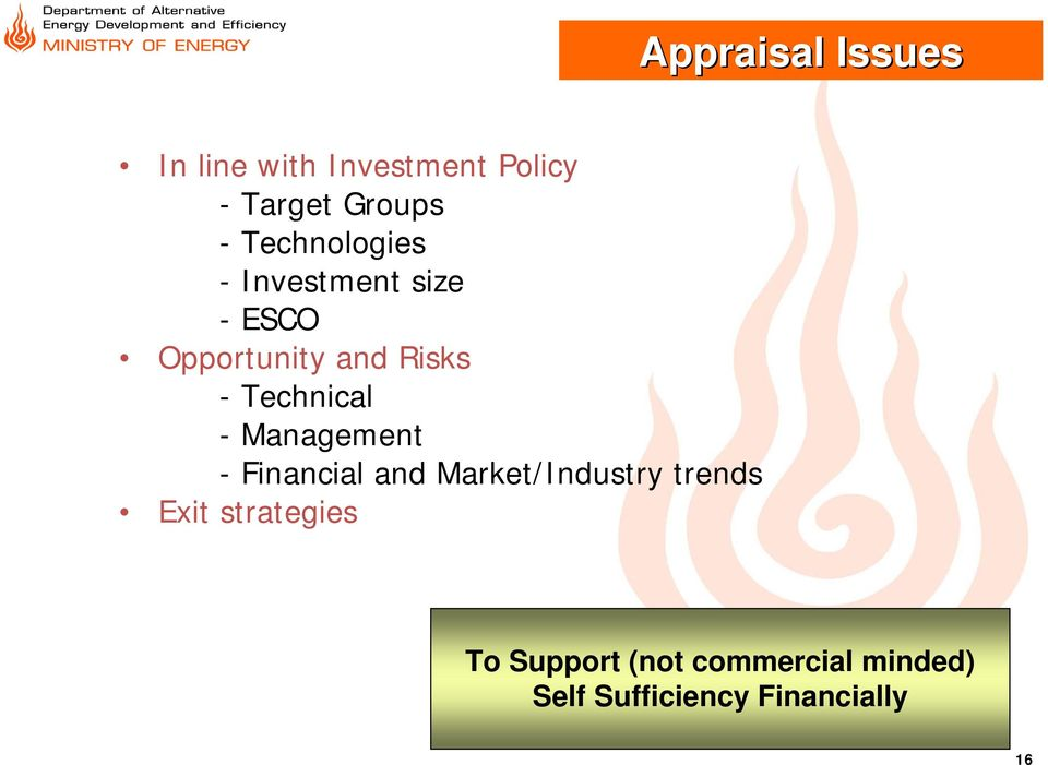 Technical - Management - Financial and Market/Industry trends Exit
