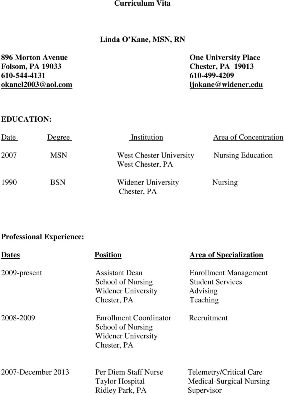 Experience: Dates Position Area of Specialization 2009-present Assistant Dean Enrollment Management School of Nursing Student Services Widener University Advising Chester, PA Teaching