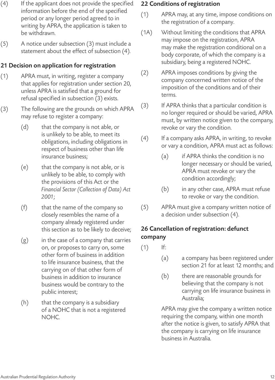21 Decision on application for registration (1) APRA must, in writing, register a company that applies for registration under section 20, unless APRA is satisfied that a ground for refusal specified