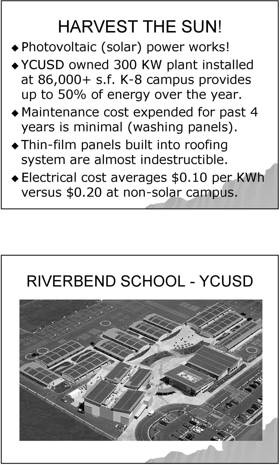 Maintenance cost expended for past 4 years is minimal (washing panels).