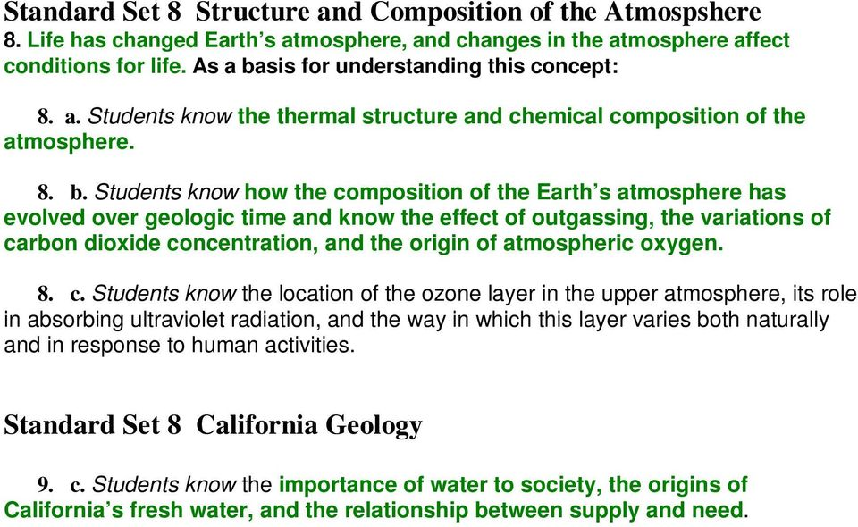 sis for understanding this concept: 8. a. Students know the thermal structure and chemical composition of the atmosphere. 8. b.