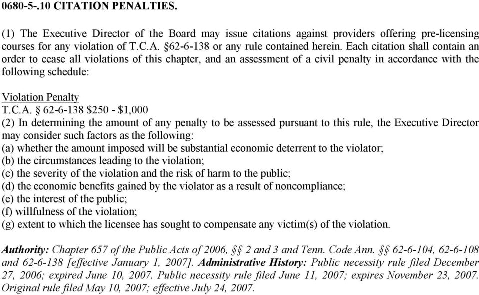 62 6 138 $250 $1,000 (2) In determining the amount of any penalty to be assessed pursuant to this rule, the Executive Director may consider such factors as the following: (a) whether the amount