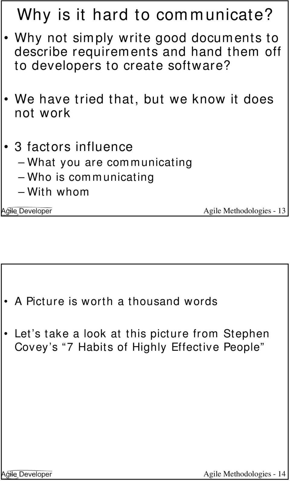 We have tried that, but we know it does not work 3 factors influence What you are communicating Who is