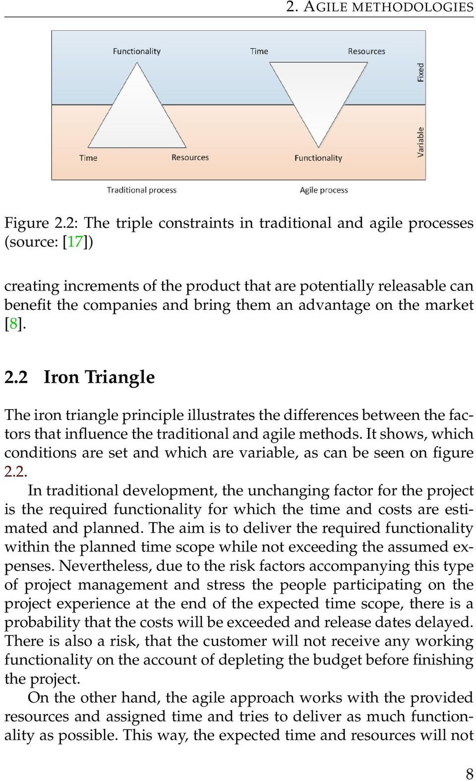 the market [8]. 2.2 Iron Triangle The iron triangle principle illustrates the differences between the factors that influence the traditional and agile methods.