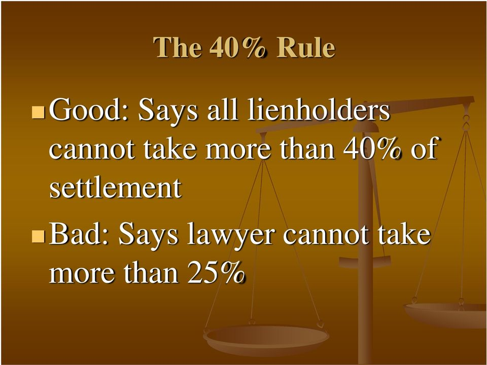 than 40% of settlement Bad:
