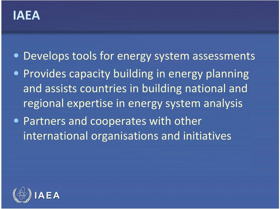 national and regional expertise in energy system analysis