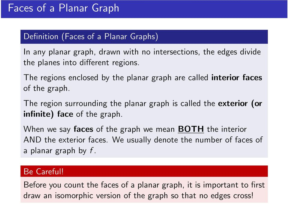 The region surrounding the planar graph is called the exterior (or infinite) face of the graph.