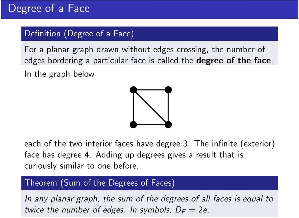 The infinite (exterior) face has degree 4. Adding up degrees gives a result that is curiously similar to one before.