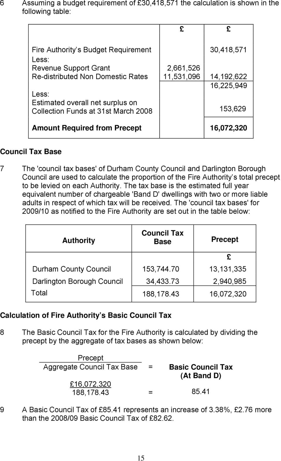 'council tax bases' of Durham County Council and Darlington Borough Council are used to calculate the proportion of the Fire Authority s total precept to be levied on each Authority.