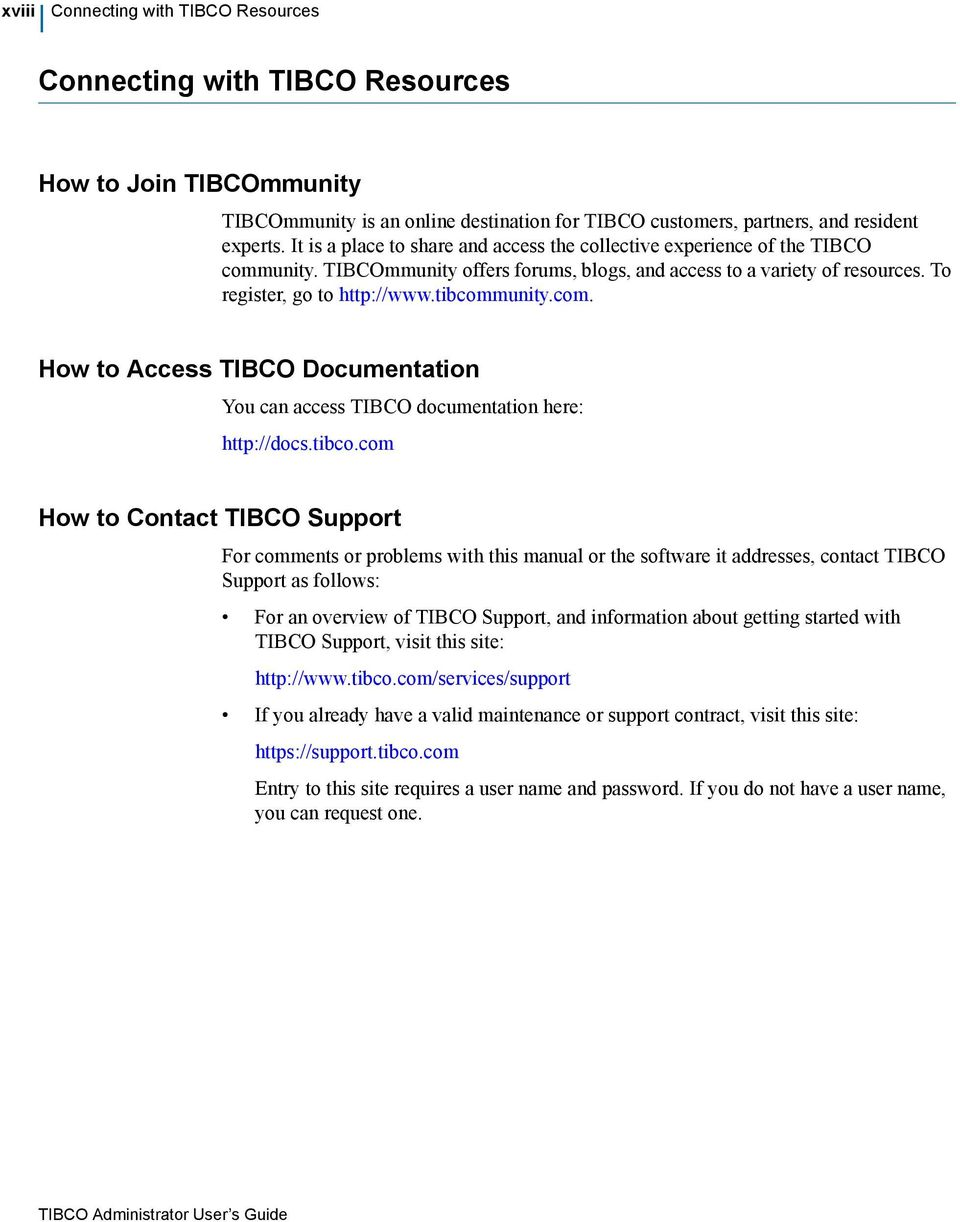 com. How to Access TIBCO Documentation You can access TIBCO documentation here: http://docs.tibco.