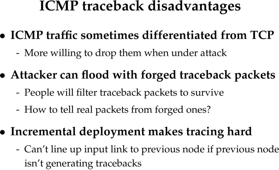 traceback packets to survive - How to tell real packets from forged ones?