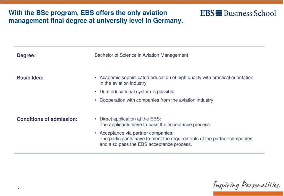 industry Dual educational system is possible Cooperation with companies from the aviation industry Conditions of admission: Direct application at the EBS: