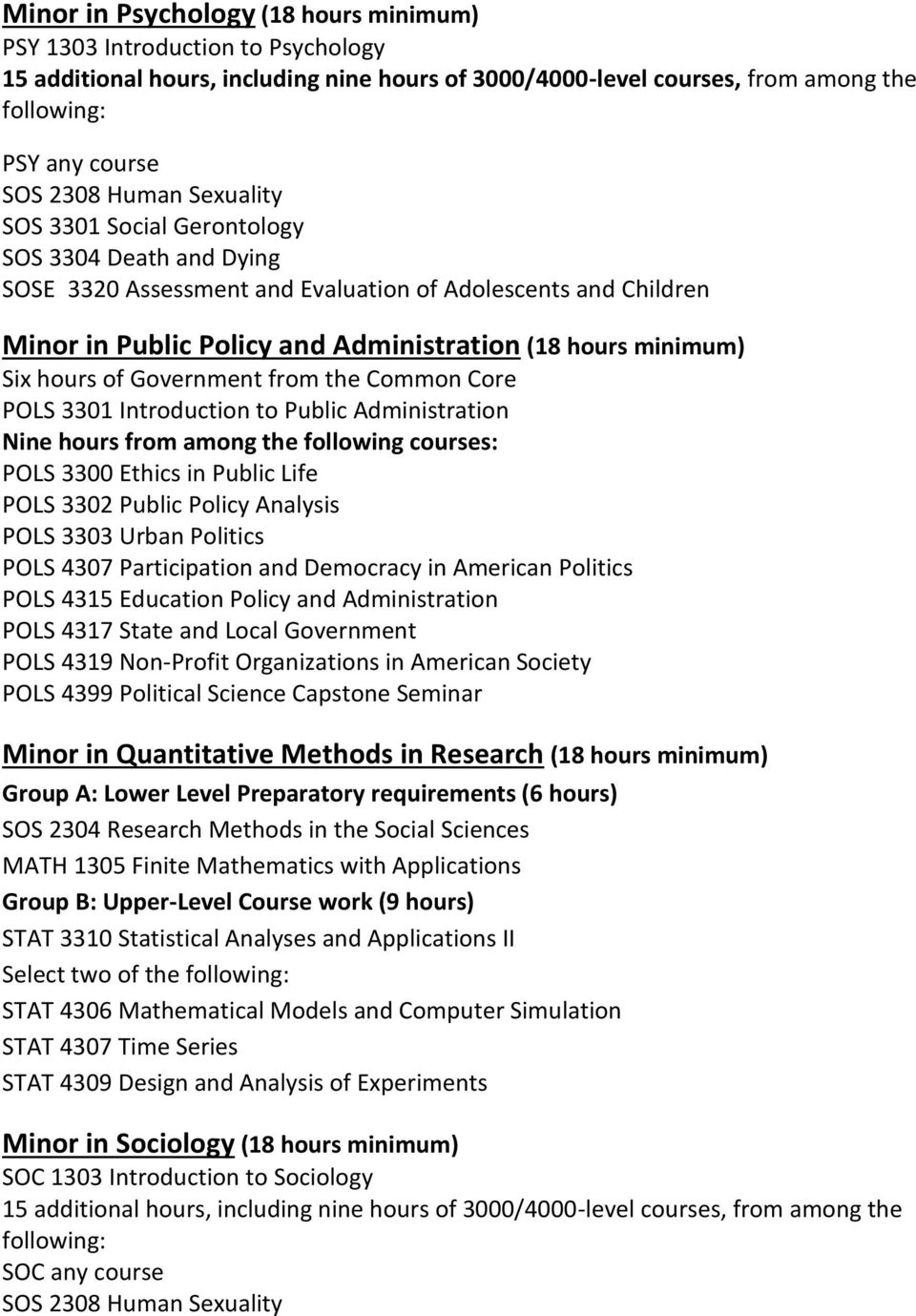 hours of Government from the Common Core POLS 3301 Introduction to Public Administration Nine hours from among the following courses: POLS 3300 Ethics in Public Life POLS 3302 Public Policy Analysis