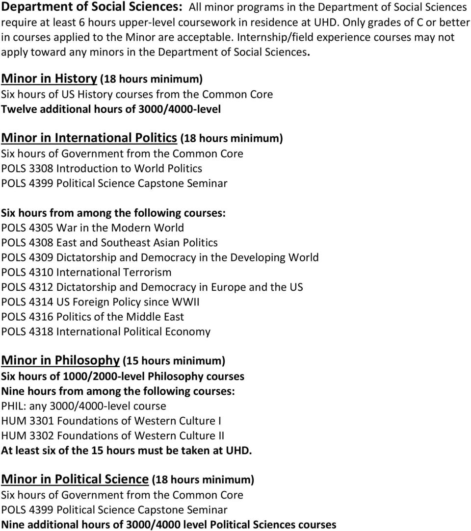 Minor in History (18 hours minimum) Six hours of US History courses from the Common Core Twelve additional hours of 3000/4000-level Minor in International Politics (18 hours minimum) Six hours of