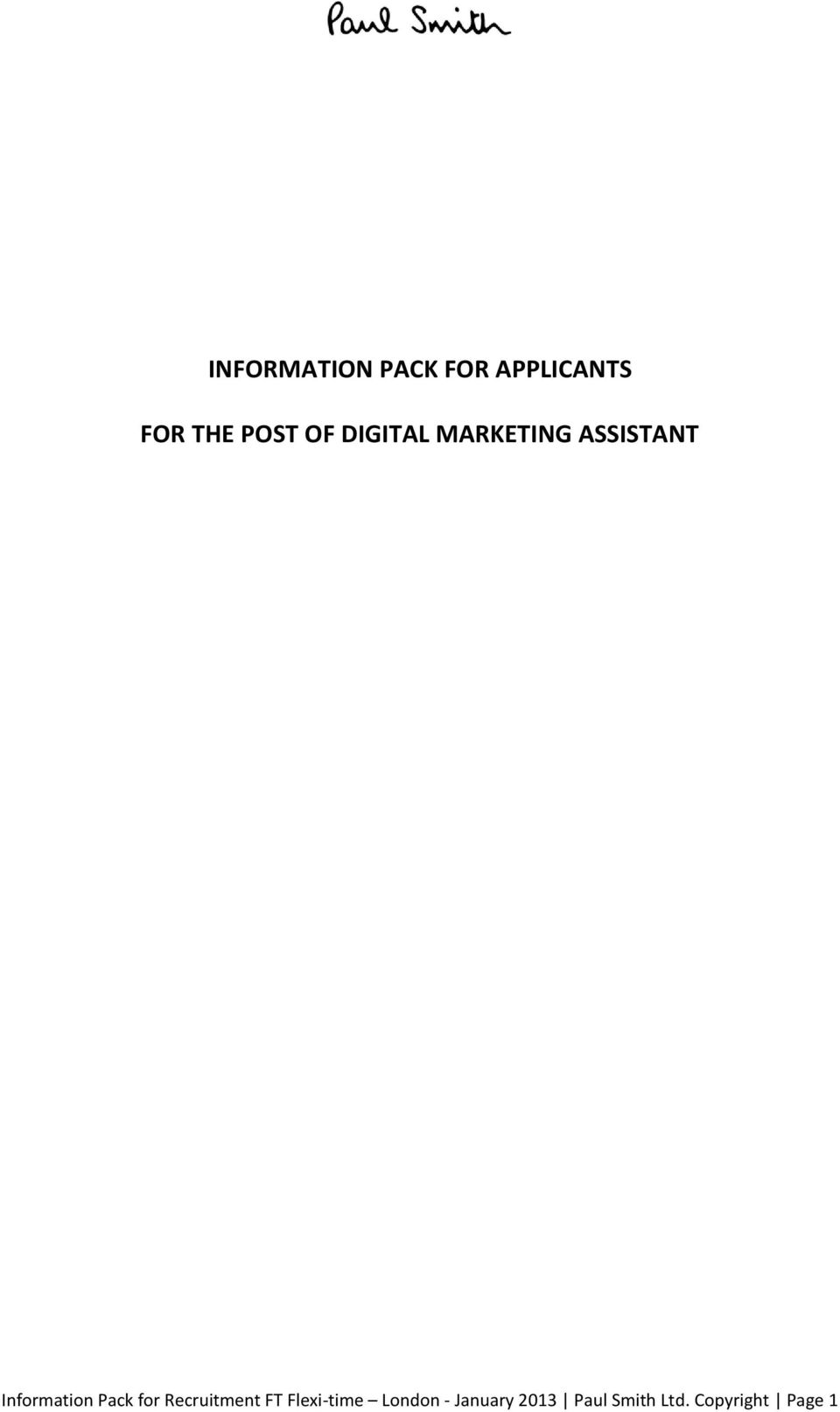 Pack for Recruitment FT Flexi-time London -