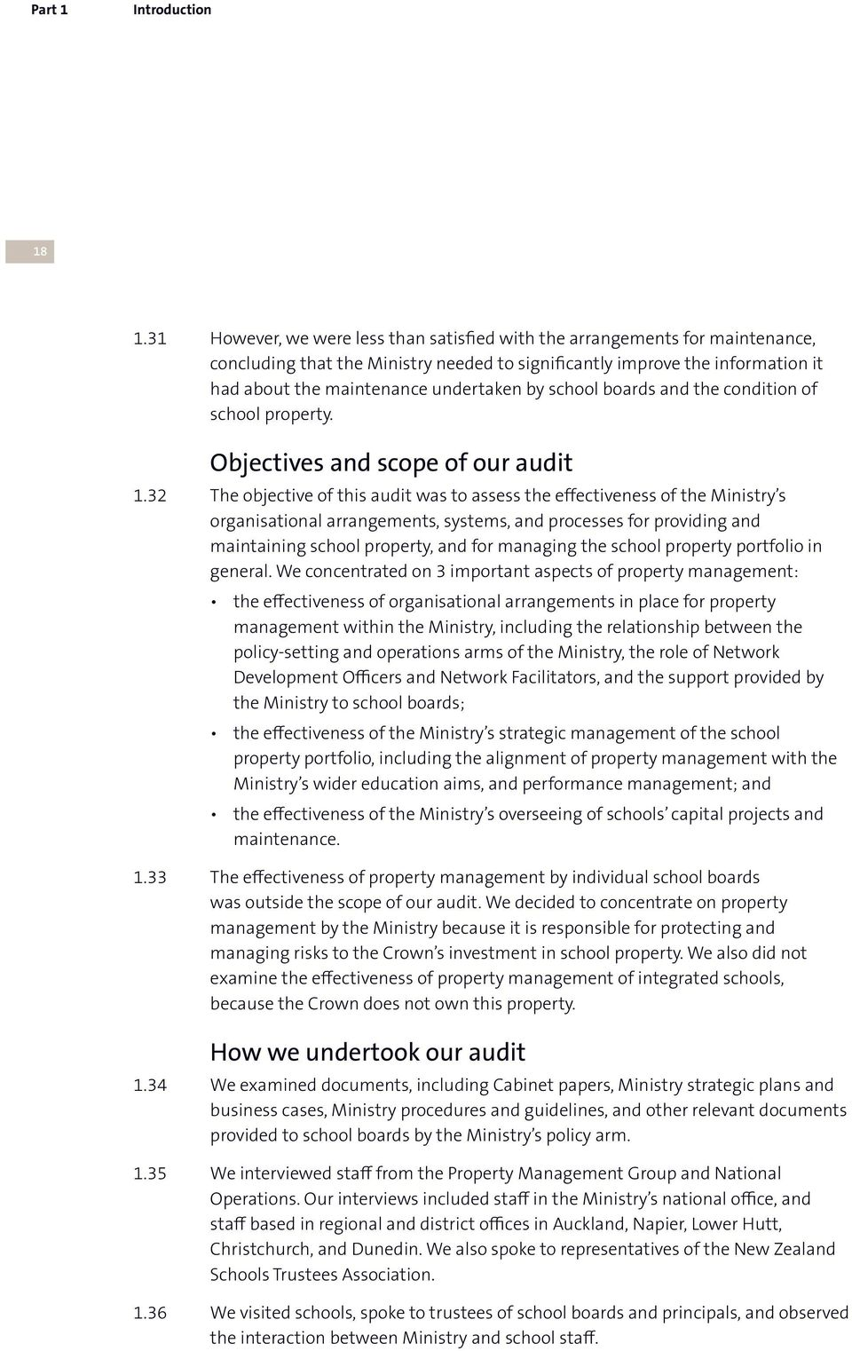 school boards and the condition of school property. Objectives and scope of our audit 1.