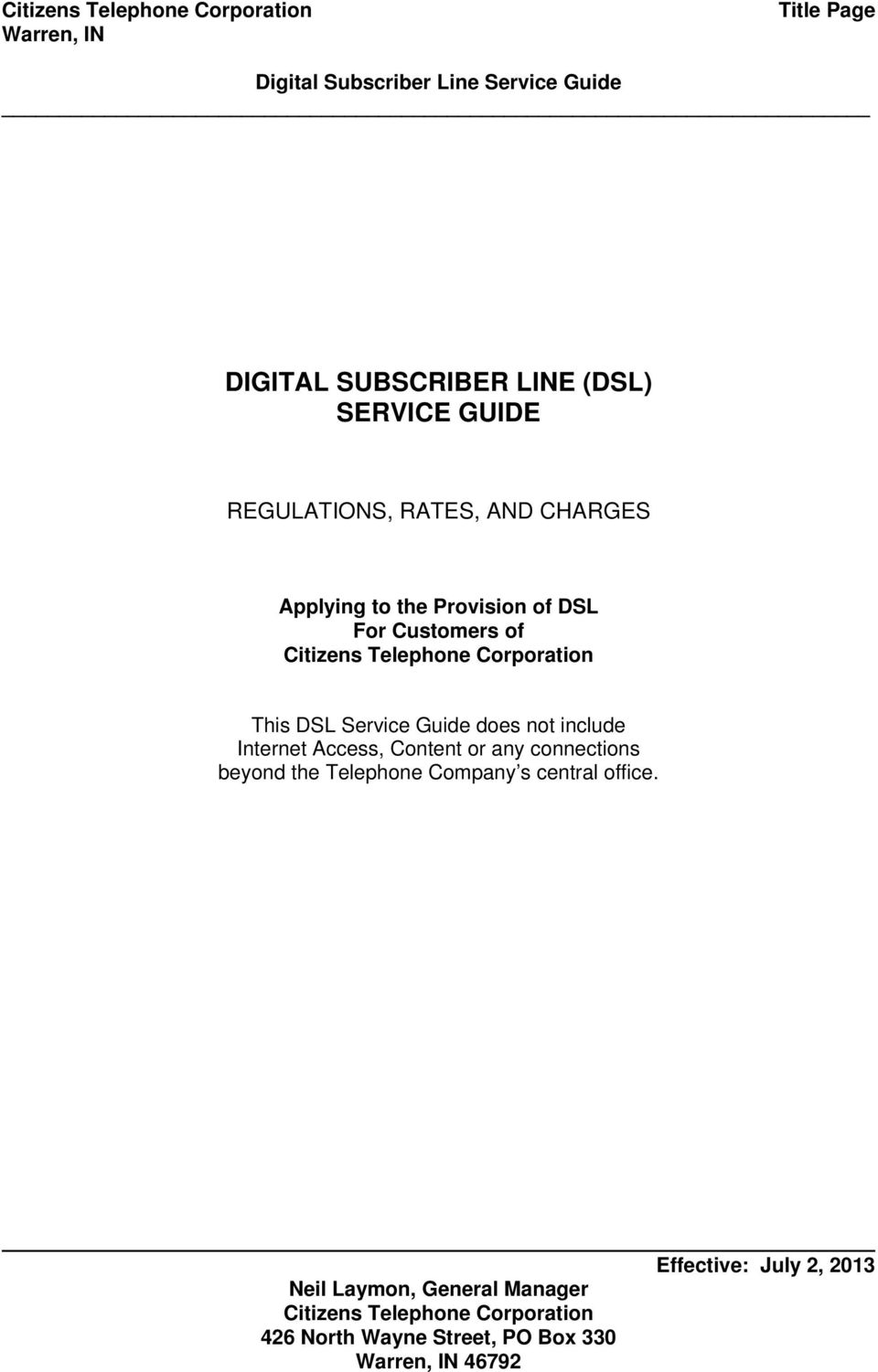 For Customers of This DSL Service Guide does not include Internet