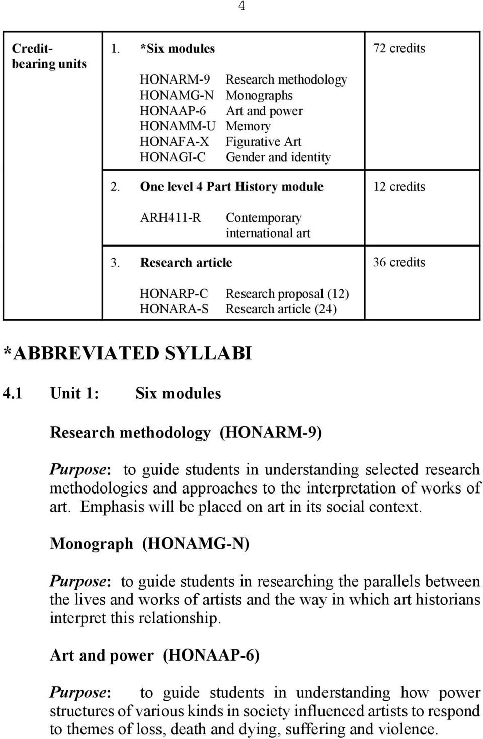 Research article 36 credits HONARP-C Research proposal (12) HONARA-S Research article (24) *ABBREVIATED SYLLABI 4.