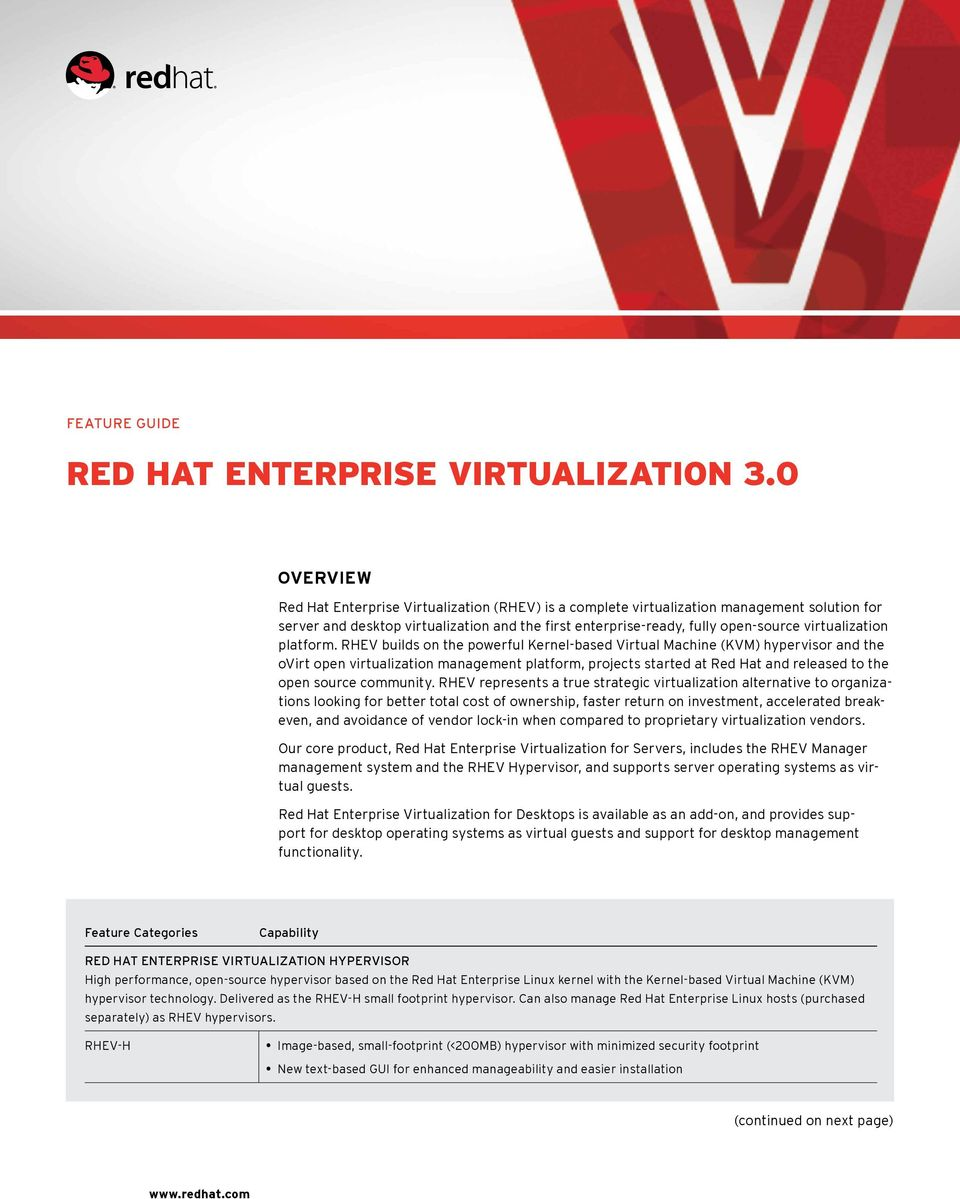 RHEV builds on the powerful Kernel-based Virtual Machine (KVM) hypervisor and the ovirt open virtualization management platform, projects started at Red Hat and released to the open source community.