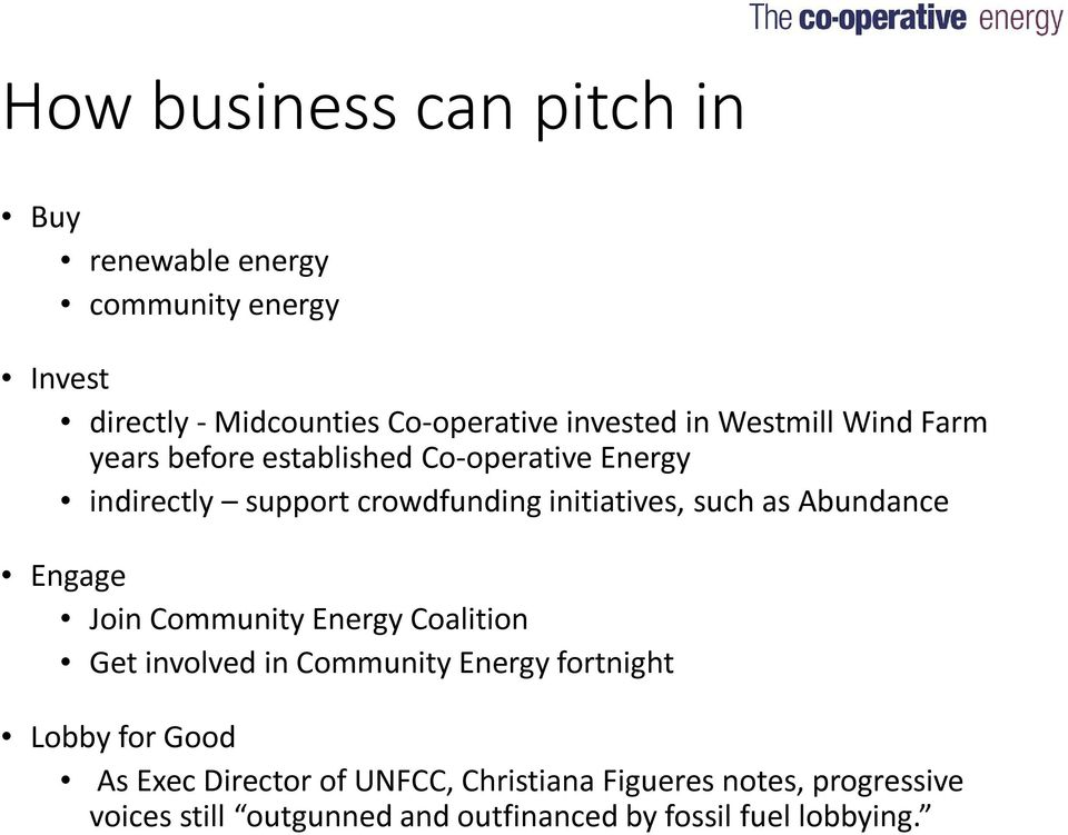 as Abundance Engage Join Community Energy Coalition Get involved in Community Energy fortnight Lobby for Good As Exec