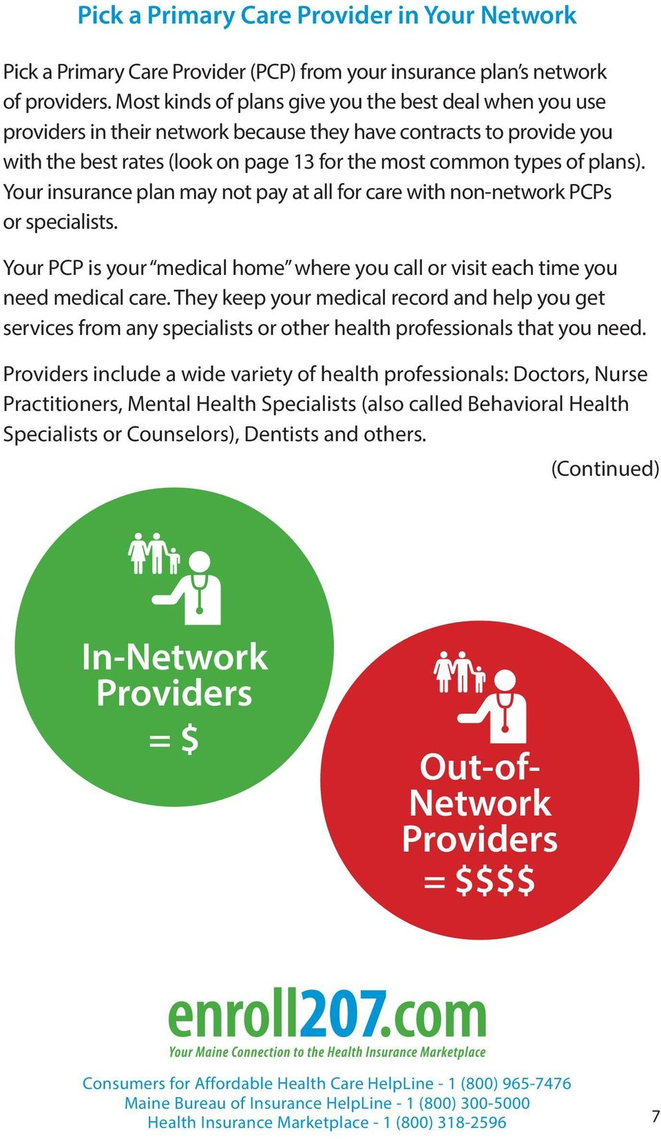 Your insurance plan may not pay at all for care with non-network PCPs or specialists. Your PCP is your medical home where you call or visit each time you need medical care.